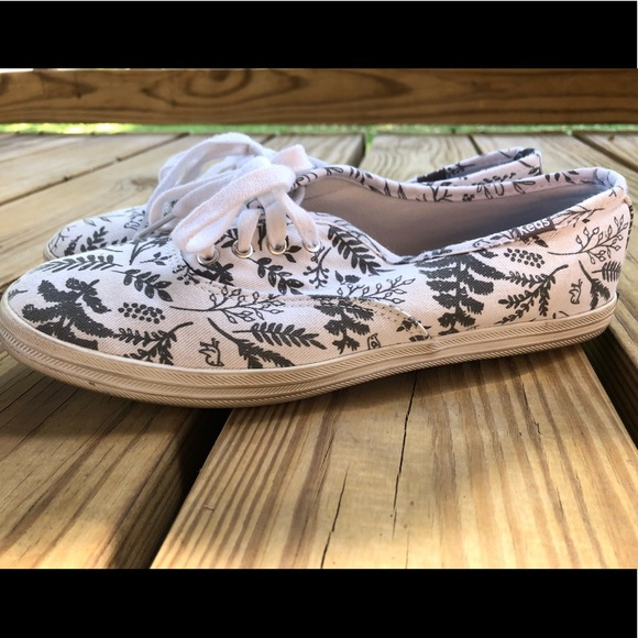 White and Grey Floral Keds